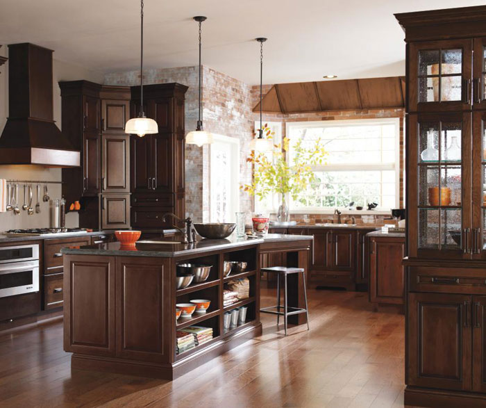 Dark cherry kitchen cabinets by Diamond Cabinetry