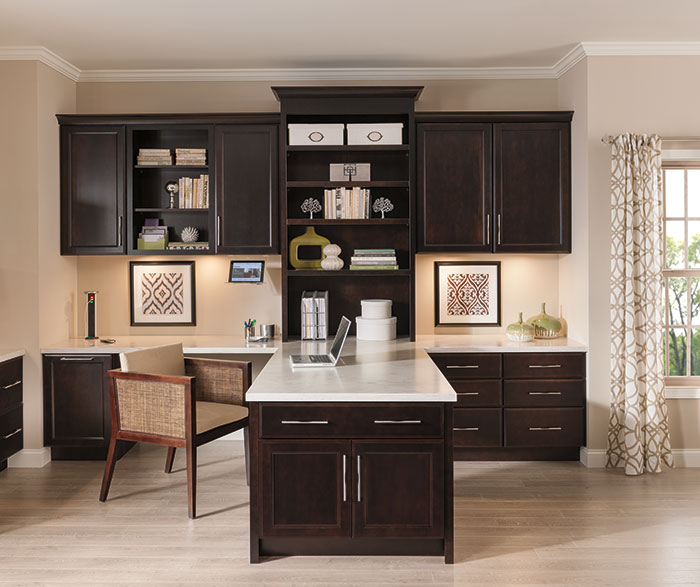 Hanlon office cabinets in dark cherry finish