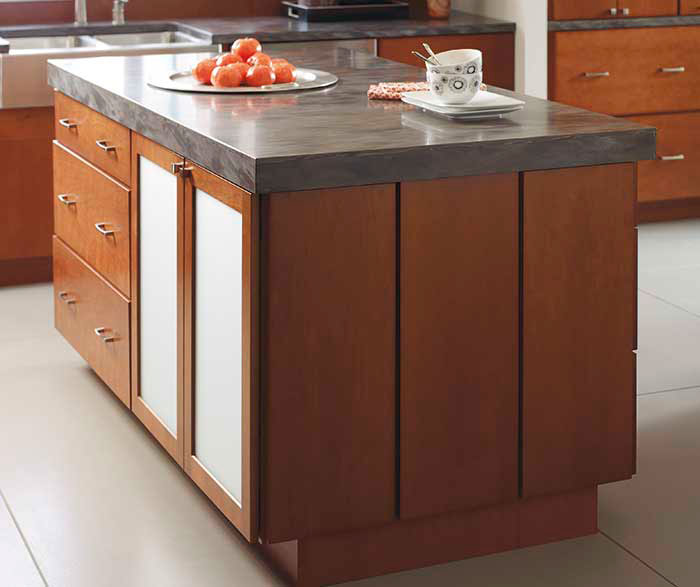 Kitchen with cherry cattail by Diamond Cabinetry
