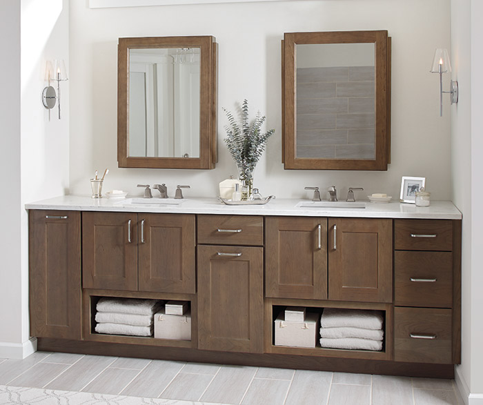 Breman Shaker style bathroom cabinets in Cherry Morel