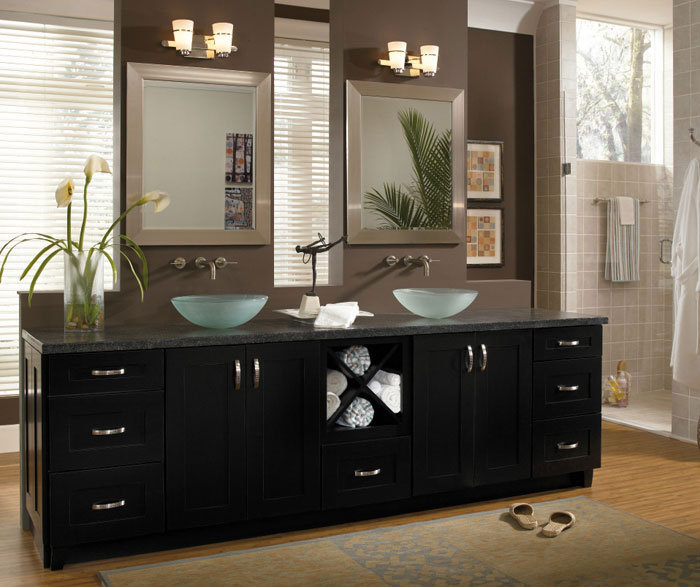 Contemporary black bathroom cabinets by Diamond Cabinetry