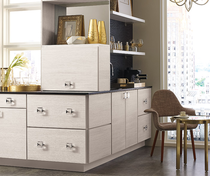 Contemporary wet bar cabinets in a specialty laminate finish